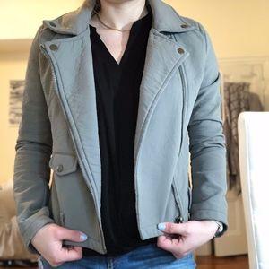 Grey Tobi Faux Leather Jacket